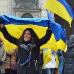 Schlagersängerin Ruslana auf der Abschlusskundgebung am Sonntag. Foto: a.i.d.a.
