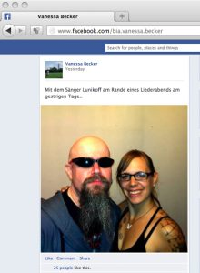 Auch dieses schnell wieder gelöschte Posting gab Auskunft über den konspirativen 'Liederabend'. Screenshot: a.i.d.a.