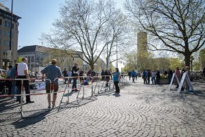 So sah es bei der Kundgebung am Sendlinger-Tor-Platz aus. Foto: Sascha Arnhoff