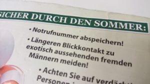 Das von den Neonazis verteilte, rassistische Flugblatt (Ausschnitt). Foto: a.i.d.a.